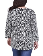 Elbow Sleeve Pullover With Drawstring Detail - Plus - Black / Ivory Geometrical - Back