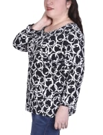 Elbow Sleeve Pullover With Drawstring Detail - Plus - 3