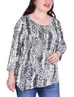 Elbow Sleeve Pullover With Drawstring Detail - Plus - Black Leosnake - Front