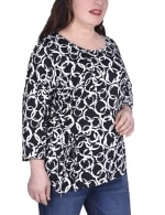 Elbow Sleeve Pullover With Drawstring Detail - Plus - 1