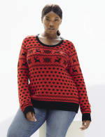 Westport Fair Isle Pullover Sweater - Plus - Red/Black - Front
