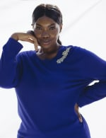 Roz & Ali Rhinestone Pullover Sweater - Plus - Royal - Front