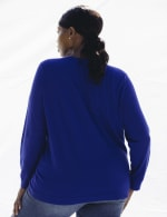 Roz & Ali Rhinestone Pullover Sweater - Plus - Royal - Back