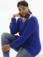 Westport Scallop Neck Jewel Pullover  - Plus - 11