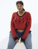 Westport Fair Isle Pullover Sweater - Plus - Red/Black - Back
