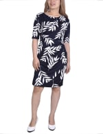 Elbow Sleeve Slim Dress - Navy / Ivory - Front
