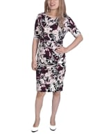 Elbow Sleeve Slim Dress - Burgundy Floral - Front