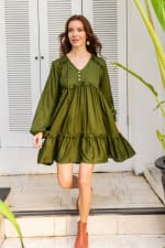 Texas Rose Dress - Plus - Khaki Green - Front