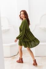 Texas Rose Dress - Khaki Green - Back