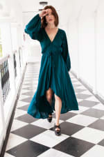 Linda Dress - Emerald - Front
