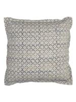 Block Print Blue & Natural Throw Pillow - Blue - Front