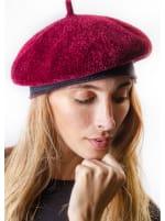 Adrienne Vittadini Fall Beret Hat - Burgundy - Front