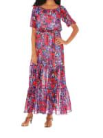 Caribbean Joe Off The Shoulder Dress - Red Bloom - Front