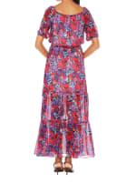 Caribbean Joe Off The Shoulder Dress - Red Bloom - Back
