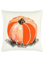 "Pumpkin Motif 20""x20"" Orange/Natural Cotton Poly Filled Pillow - Natural - Front"