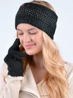 Studded Fleece Lined Winter Headband - Black - Back