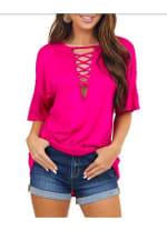 Low V-Laced Oversized Tee - 3