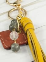 Lucca Leather Bag Charm - Yellow - Back