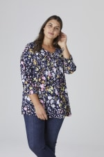 Roz & Ali Multi Color Floral Popover - Plus - Navy - Front