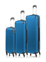 Champs 3-Piece Global Hardside Luggage Set - Blue - Front