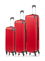 Champs 3-Piece Global Hardside Luggage Set - Red - Front
