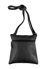 Champs Leather Crossbody Bag With RFID Protection - Black - Back
