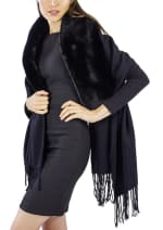 Jessica Mcclintock Solid Shawl with Oversized Faux Mink Collar - Black / Black - Front