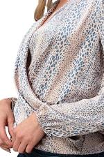 Women Surplice Long Sleeve Tie Back Blouse Top - 3