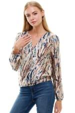Animal Printed Long Sleeve Surplice Tie Blouse Top - 1