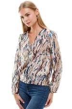 Animal Printed Long Sleeve Surplice Tie Blouse Top - 4