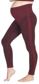 Modern Eternity Ella Activewear Seamless Maternity Leggings - Burgundy Jacquard - Back