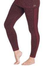 Modern Eternity Ella Activewear Seamless Maternity Leggings - Burgundy Jacquard - Front