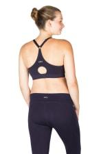 Modern Eternity Bella Yoga Maternity Nursing Yoga Bra Black - Navy - Back