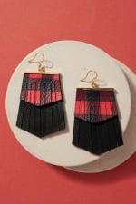 Gold plated Christmas Theme Fringed PU Leather Earrings - 1