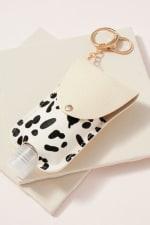 Gold Plated Animal Print Calf Hair Sanitizer Holder Key Chain - 6