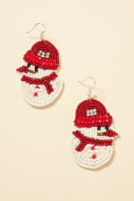 Gold Plated Snow Man Seed Beaded Earrings - 1