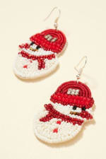 Gold Plated Snow Man Seed Beaded Earrings - 2