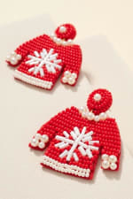 Gold Plated Seed Beaded Snow Flake Sweater Earrings - 2