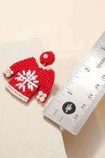 Gold Plated Seed Beaded Snow Flake Sweater Earrings - 3