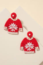 Gold Plated Seed Beaded Snow Flake Sweater Earrings - 1
