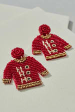 Gold Plated Seed Beaded HoHoHo Sweater Earrings - 1