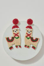 Gold Plated Seed Beaded Llama Earrings - 1