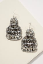 Gold plated Snow Hat Seed Beads Pearls Earrings - 1