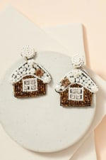 Gold Plated Snow House Seed Beads Pearls Earrings - 1