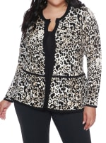 Leopard Jacquard Sweater Jacket - Plus - Bengal/Black - Front