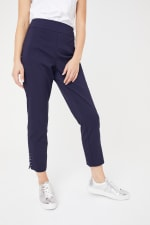 Roz & Ali Solid Superstretch Tummy Panel Pull On Ankle Pants With Rivet Trim Bottom - 42