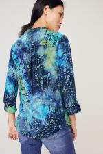 Roz & Ali Tie Dye Clip Jacquard Popover - Blue-Green - Back