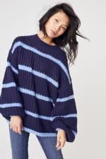 Westport Cozy Stripe Pullover Sweater - Navy - Front