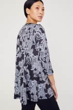 Roz & Ali Paisley Keyhole Fit and Flare Knit Top - Misses - Black/Grey - Back