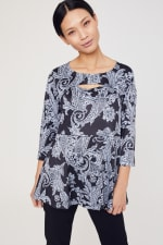 Roz & Ali Paisley Keyhole Fit and Flare Knit Top - Misses - Black/Grey - Front